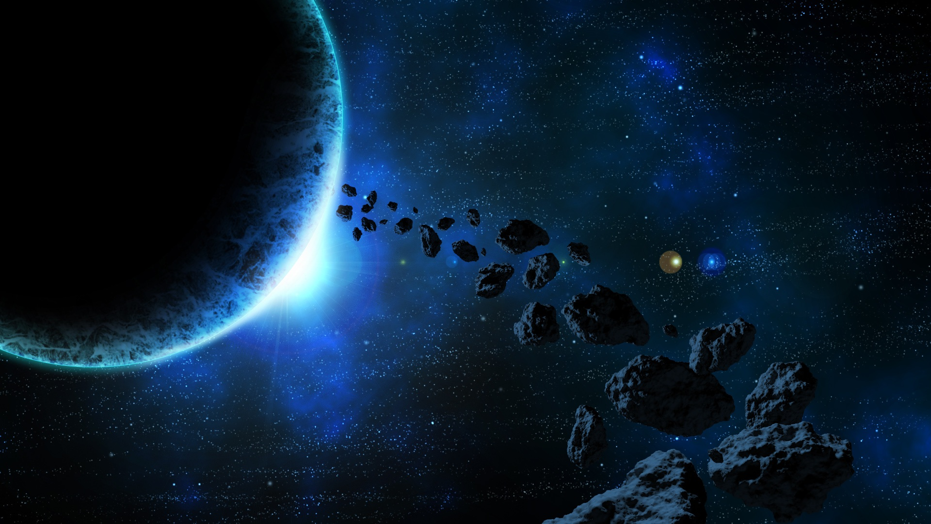 space asteroids planet